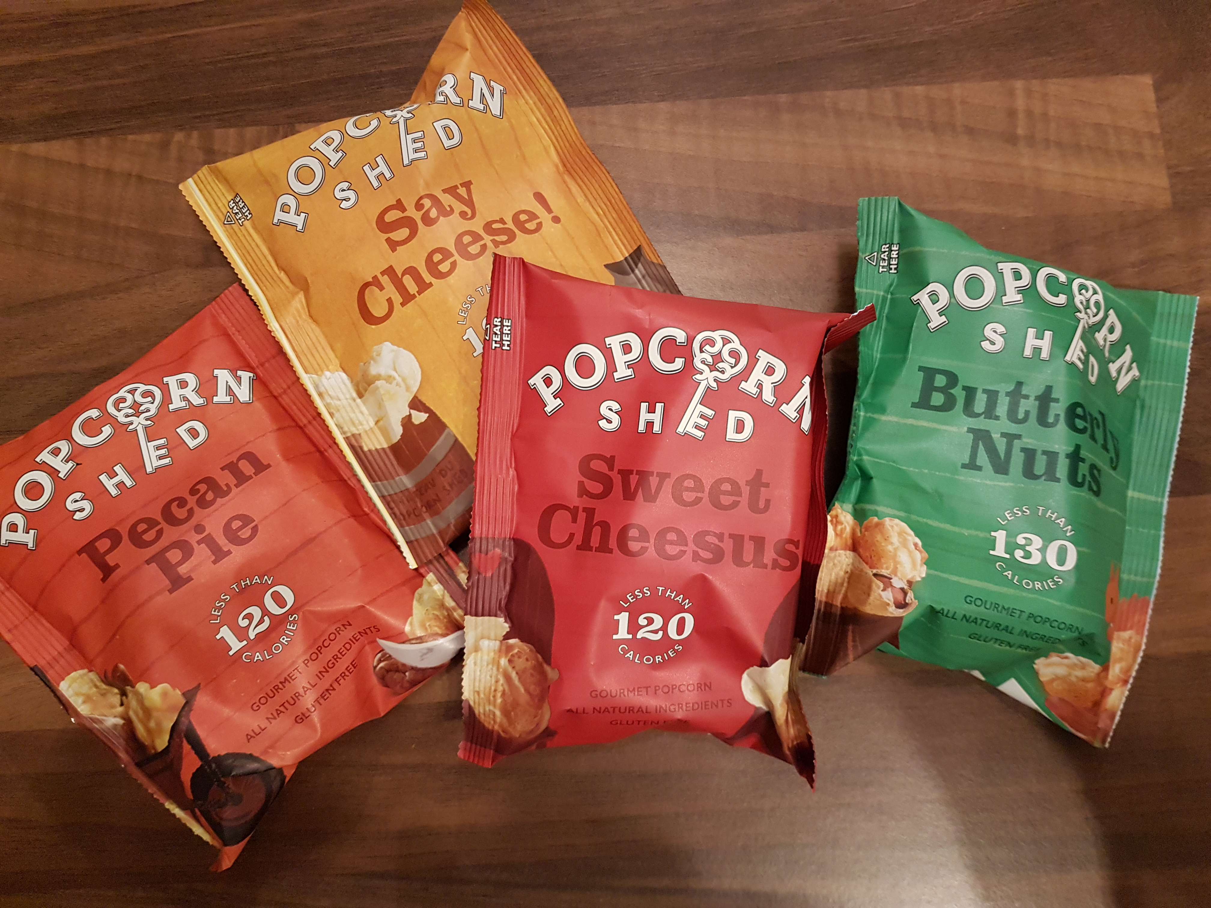 Popcorn Shed gourmet popcorn, available in snack bags of 24g