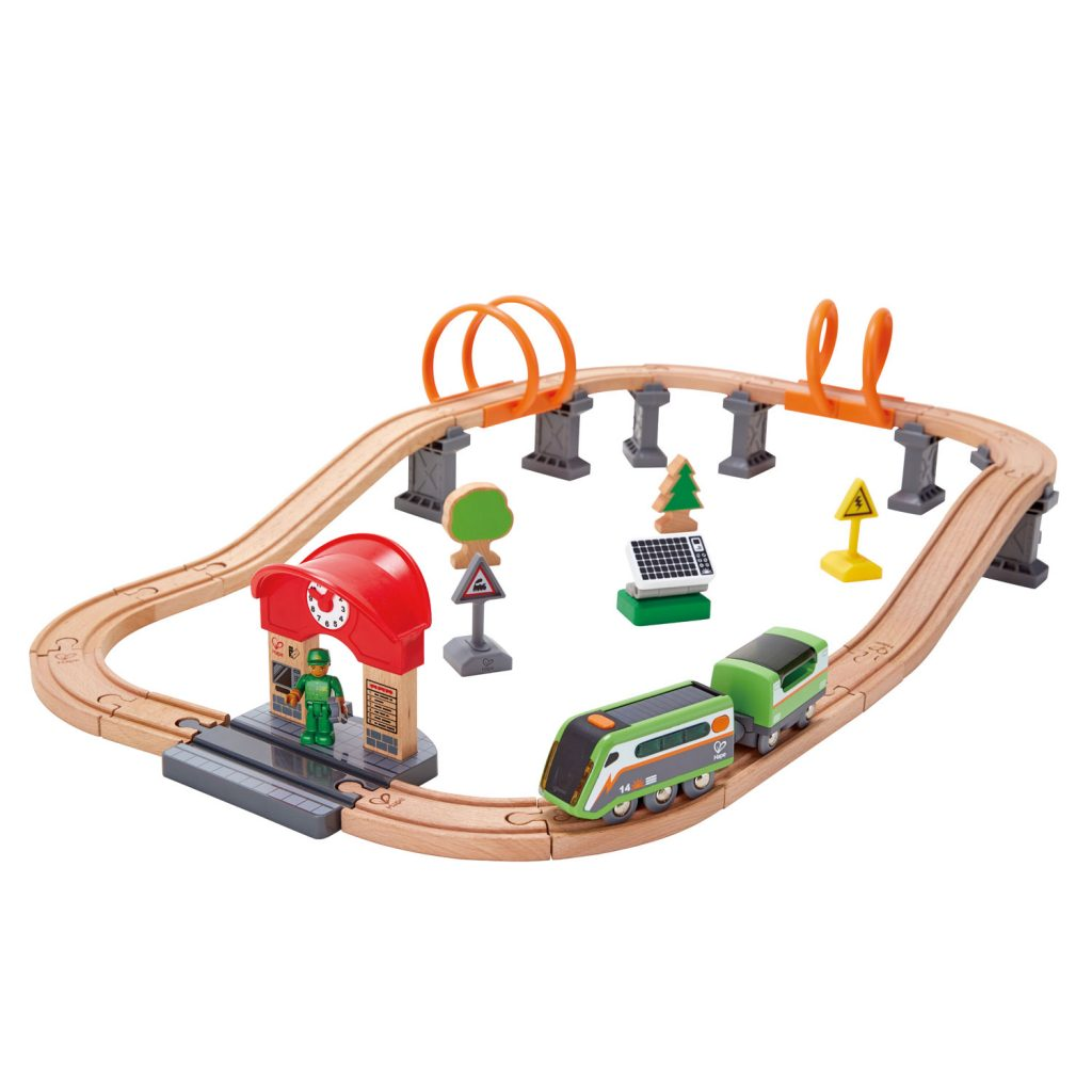 Christmas gift guide for toddlers, best wooden toys Hape solar train circuit