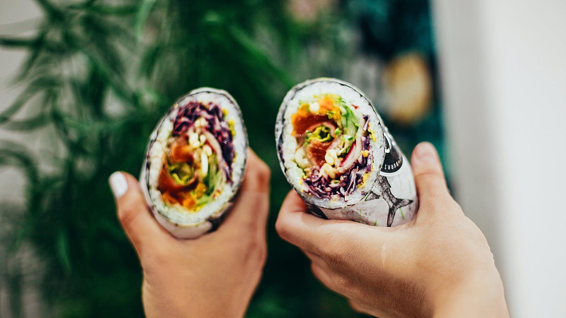 close up photo of burritos